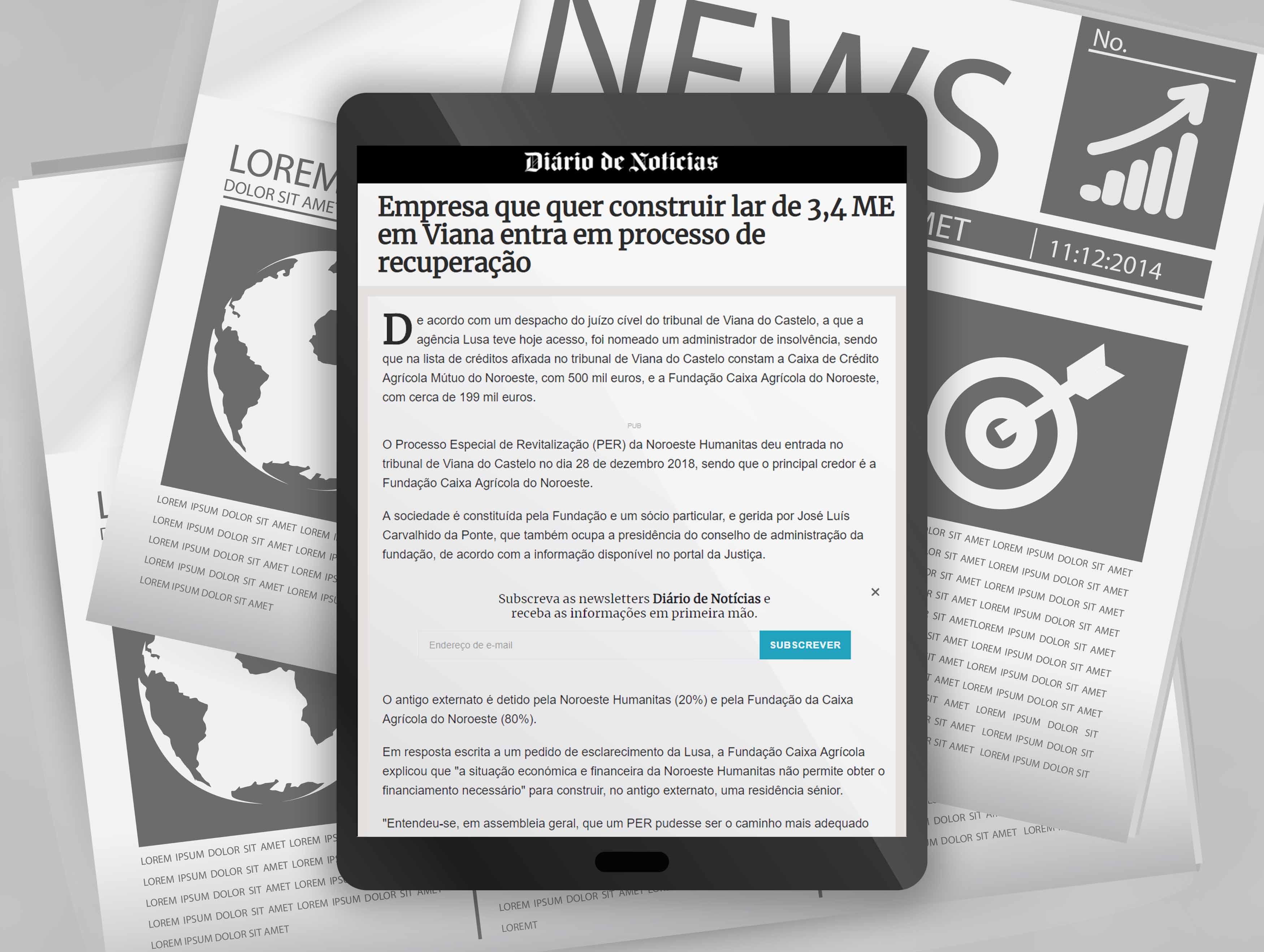 Empresa que quer construir lar de 3,4 ME em Viana entra em processo de recuperação